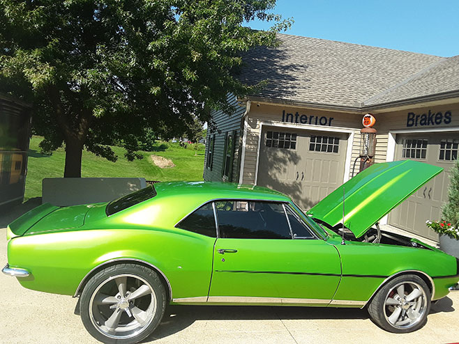 pristine green muscle car
